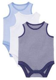 F&F 3 Pack Of Plain And Striped Sleeveless Bodysuits 0-3 months