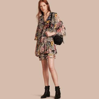 Burberry  Burberry Floral Silk Dress with Gathered Sleeves