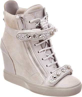 Giuseppe Zanotti Leather & Suede Wedge Sneaker