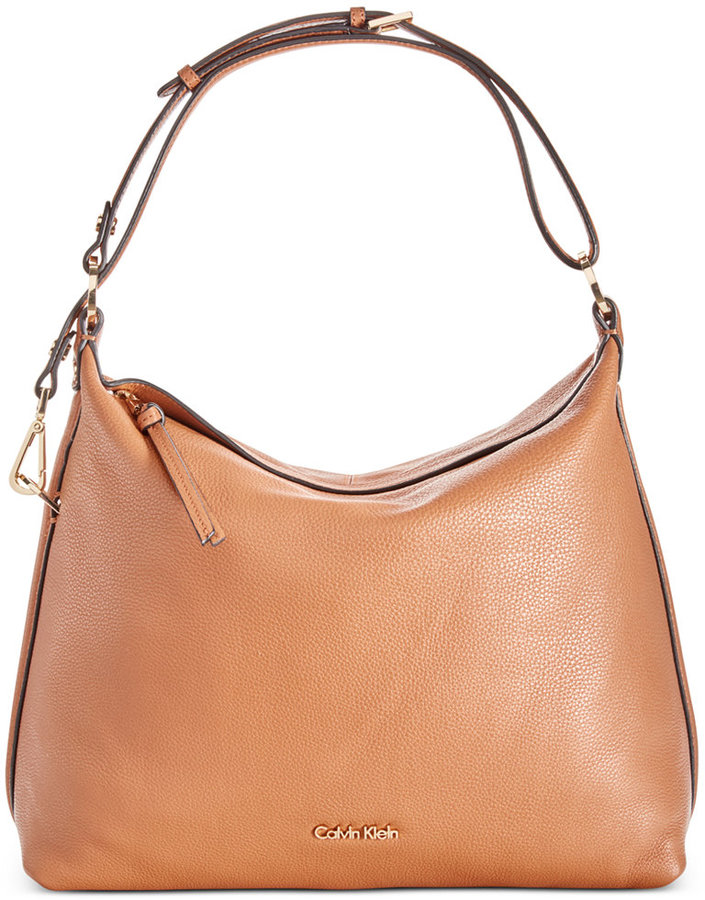 Calvin Klein Calvin Klein Pebble Leather Hobo, A Macy's Exclusive Style