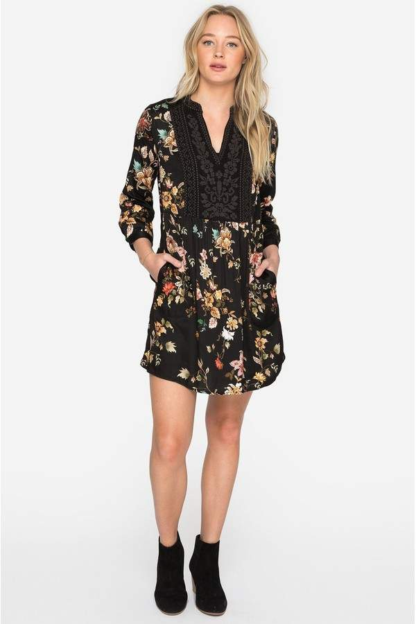 Johnny Was Johnny Was Exotic Garden Boho Henley Dress