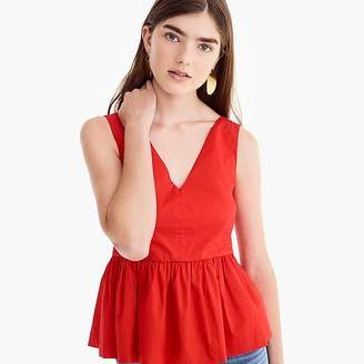 J.Crew Petite sleeveless peplum top in stretch cotton poplin