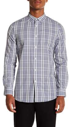 Perry Ellis Checked Slim Fit Long Sleeve Woven Shirt