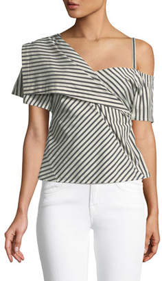 Theory Bryson Striped One-Shoulder Fold-Over Top