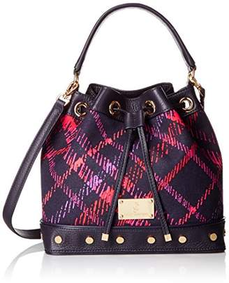 Juicy Couture Black Label Plaid Bucket Bag with Long Strap and a Drawstring Closure with Studded Grommets on the Bottom $298 thestylecure.com