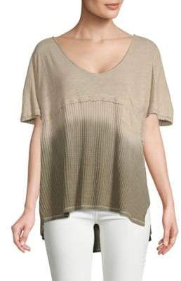 Free People Linen and Cotton Short Sleeve Tee