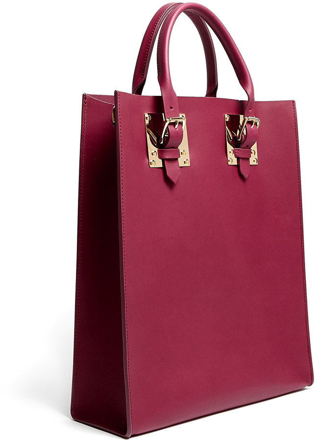 Sophie Hulme Burgundy Structured Leather Medium Buckle Tote