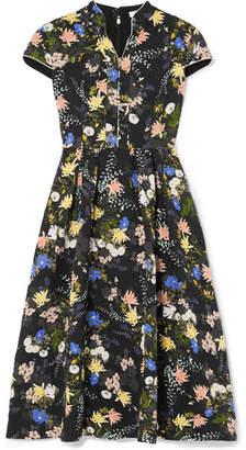 Erdem Henrietta Floral-print Cloqué Midi Dress - Black