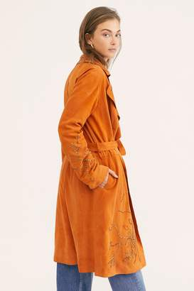 Brenda Knight Embellished Suede Trench