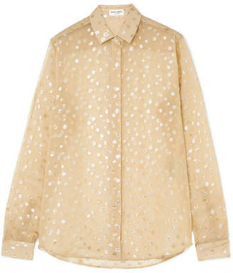 Saint Laurent Fil Coupé Chiffon Blouse - Beige