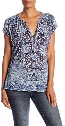 Lucky Brand Mix Print Split Neck Knit Top