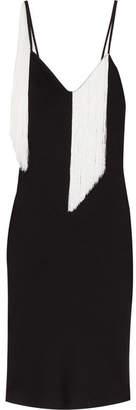 Fandango Fringed Satin-crepe Midi Dress - Black