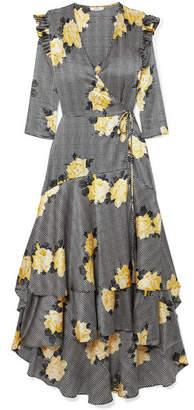 Ganni Asymmetric Tiered Silk-blend Wrap Dress
