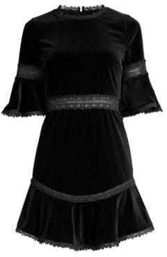 Alice + Olivia Women's Doloris Embroidered Velvet Mini Dress - Black - Size 0