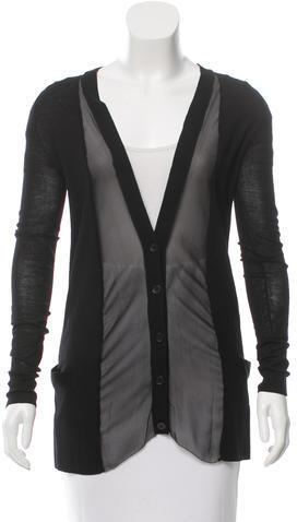 Vera WangVera Wang Silk-Accented Wool Cardigan
