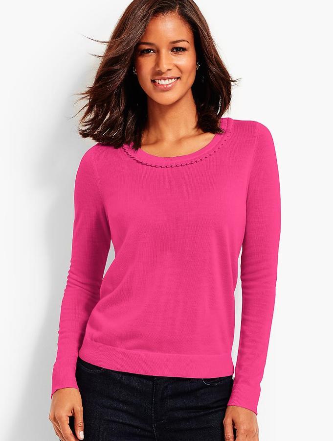 Pleat-Trimmed Merino Sweater