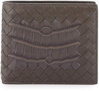 Bottega Veneta Intrecciato Leather Wallet w/Crocodile Inset