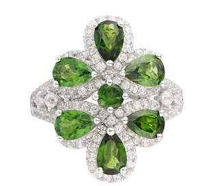 FINE JEWELRY Womens Green Chrome Diopside Sterling Silver Cluster Ring