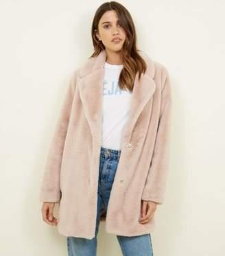 New Look Pale Pink Faux Fur Longline Coat