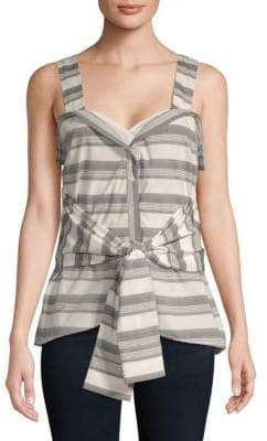 Derek Lam 10 Crosby Tie-Front Sleeveless Cotton Top