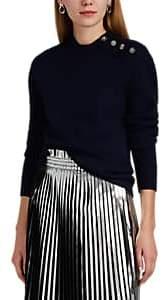 Paco Rabanne Women's Logo-Button-Detailed Virgin Wool Sweater - Navy