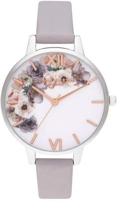 Olivia Burton Watercolor Florals Leather Strap Watch, 34mm