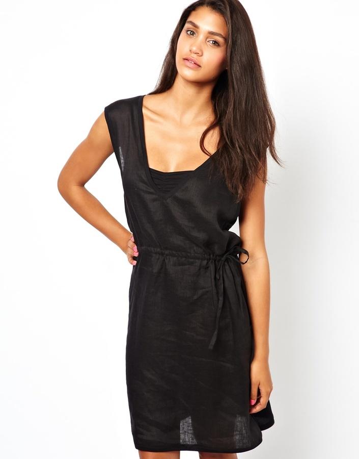 Shae Sleeveless Linen Blend Drawstring Dress