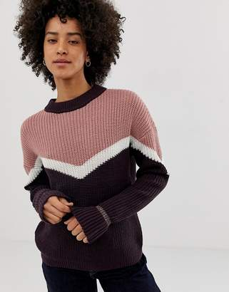 Pieces Karen color block ribbed knit sweater