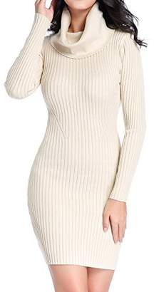 V28® Women Cowl Neck Knit Stretchable Elasticity Long Sleeve Slim Fit Sweater Dress (USASize 10 to 14 M/L, )