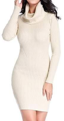 V28® Women Cowl Neck Knit Stretchable Elasticity Long Sleeve Slim Fit Sweater Dress XL Dark Grey