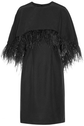 Mikael Aghal Embellished Layered Satin-Crepe Dress
