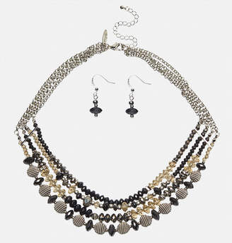 Avenue Beehive Layered Necklace Earring Set