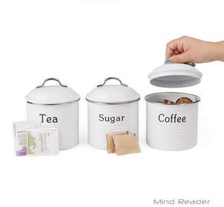 MINDREADER Mind Reader 3-Piece Coffee, Sugar, & Tea Metal Canister Set