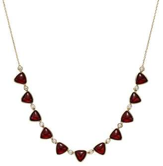 """Olivia B 14K Yellow Gold Garnet Cabochon & Diamond Frontal Necklace, 16"""" - 100% Exclusive"""