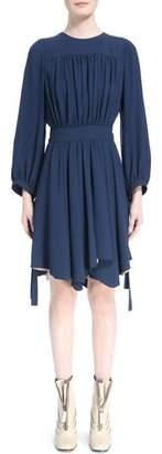 Chloé Pleated Tie Cuff Cady Dress