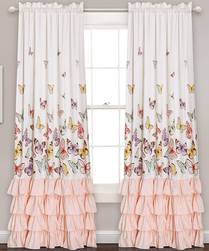White & Pink Ruffle-Accent Butterfly Curtain Panel - Set of Two