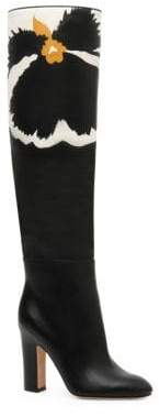 Valentino Bloom Leather Knee-High Boots