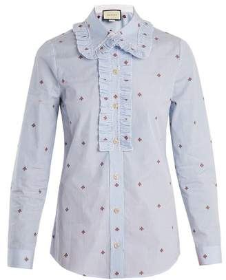 Gucci Bee Fil Coupe Striped Cotton Shirt - Womens - Blue White