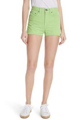 Rag & Bone Justine High Waist Denim Shorts (Lime)