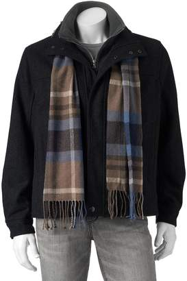 London Fog Towne By Big & Tall Towne Wool-Blend Hipster Jacket With Plaid Scarf