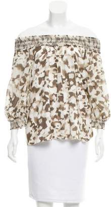 Alice + Olivia Off-The-Shoulder Silk Top