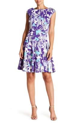 Gabby Skye Floral Print Sleeveless Fit & Flare Dress