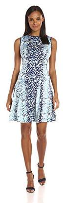 Julian Taylor Women's Leaf Printed Fit and Flare Dress
