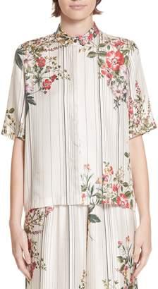 Roseanna Kinney Floral & Stripe Silk Shirt