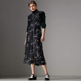 Burberry Ruffle Detail Landmark Print Silk Dress