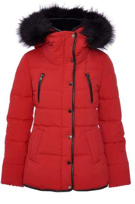 Dorothy Perkins Womens *Quiz Red Padded Faux Fur Jacket