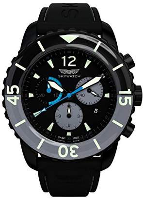 Skywatch ' 44mm Chronograph' Swiss Quartz Stainless Steel and Silicone Casual Watch