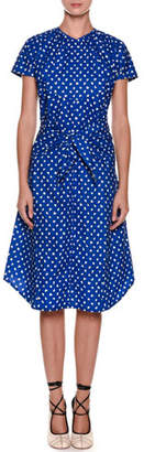 Marni Short-Sleeve Dot-Print Tie-Waist Cotton Poplin Dress