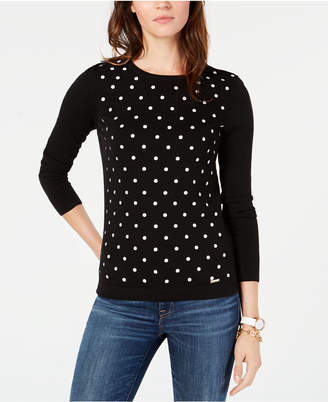 Tommy Hilfiger Cotton Polka Dot Sweater, Created for Macy's