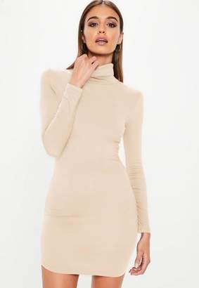 Missguided Nude Long Sleeves Curve Hem Bodycon Dress